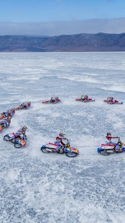 Lake Baikal, ice, motorcyclists, 5k (vertical)