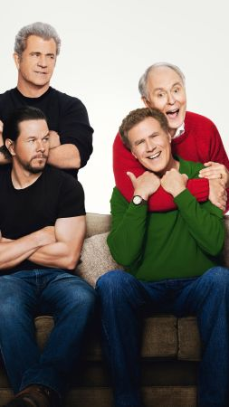 Daddy's Home 2, Mark Wahlberg, Will Ferrell, Mel Gibson, 8k (vertical)