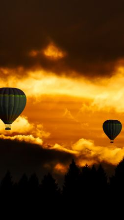 clouds, sky, balloon, forest, sunset, 8k (vertical)