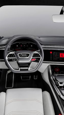 Audi Q8, 2018 Cars, interior, 4k (vertical)