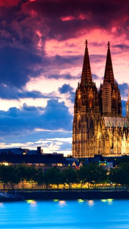 Cologne Cathedral, Germany, Cologne, Europe, night, 4k (vertical)