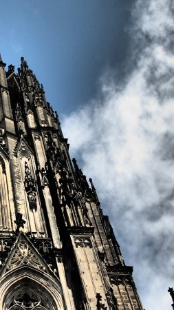 Cologne Cathedral, Germany, Cologne, sky, 4k (vertical)