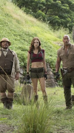 Jumanji: Welcome to the Jungle, Jack Black, Kevin Hart, Dwayne Johnson, Karen Gillan, 5k (vertical)