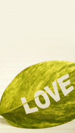 love image, leaf, 4k (vertical)