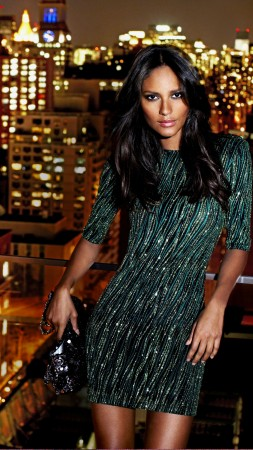Emanuela De Paula, model, brunette, dress, city, night, lights, bag, look (vertical)