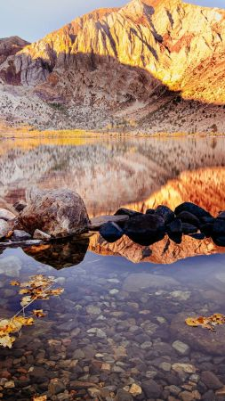 Convict Lake, autumn, Mount Morriso, California, 4k (vertical)