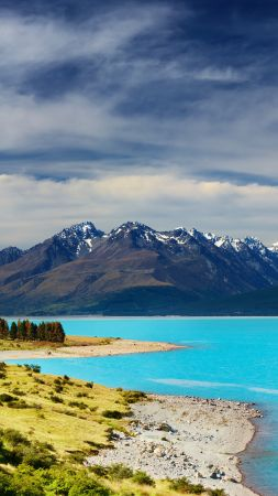 New Zealand, river, mountains, 5k (vertical)