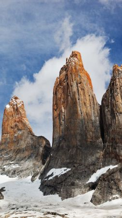 Torres del Paine, Chile, sky, mountains, 4k (vertical)