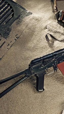 AK-74, Kalashnikov, AK-47, assault rifle, Russia, USSR, ammunition, sand (vertical)
