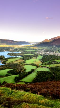Keswick, mountains, lake, field, trees, 8k (vertical)