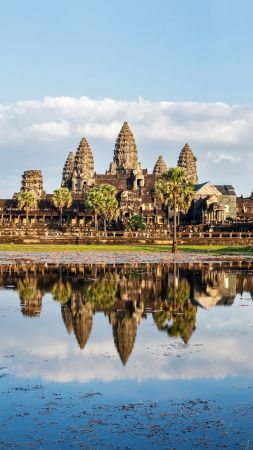 Cambodia, architecture, lake, trees, 5k (vertical)