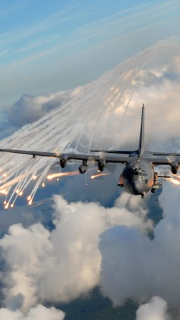 AC-130, air support, gunship, Lockheed, U.S. Air Force, ground-attack, aircraft, flares (vertical)