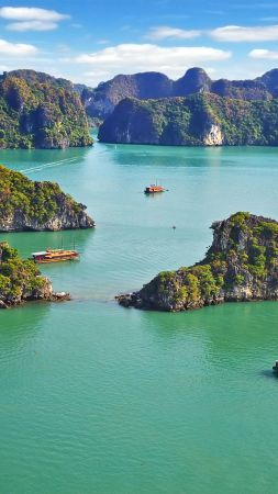 Ha Long Bay, Vietnam, mountains, sea, 8k (vertical)