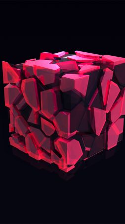 cube, 3D, pink, HD (vertical)