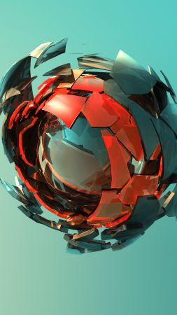 sphere, 3D, red, green, HD (vertical)