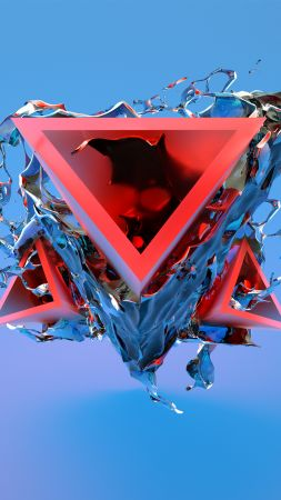 triangle, 3D, red, blue, HD (vertical)
