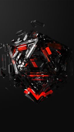 triangles, 3D, red, black, HD (vertical)
