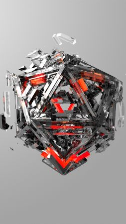 triangles, 3D, red, gray, HD (vertical)