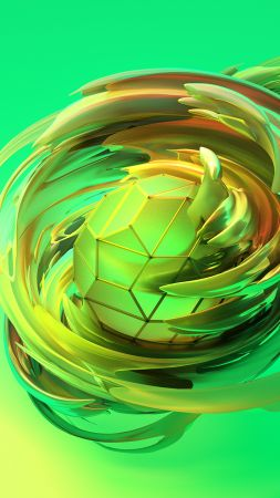 apple dreams, 3D, sphere, green, HD (vertical)