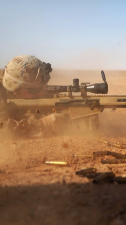 Barrett, sniper, soldier, sniper rifle, M82, М107, Light fifty, U.S. Army, M82A1, scope, desert (vertical)