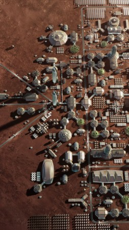 Mars Base, Mars Colony, Space X, HD (vertical)