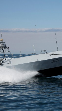 Trident Warrior, Fleet-class, Common Unmanned Surface Vessel, CUSV, drone, sea, U.S. Navy (vertical)