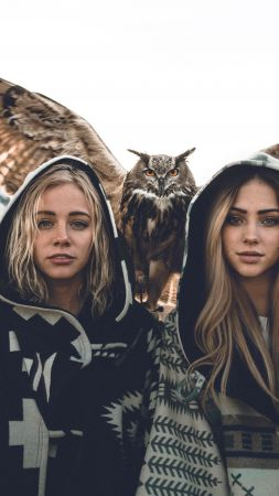 girls, owl, 8k (vertical)