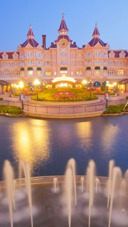 Disneyland Hotel, Paris, France, Europe, fountain, 4k (vertical)