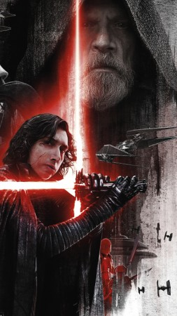 Star Wars: The Last Jedi, Adam Driver, Mark Hamill, poster, 8k (vertical)