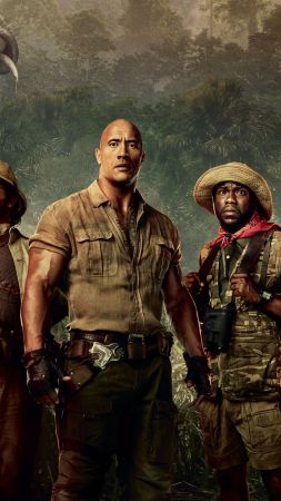 Jumanji: Welcome to the Jungle, Jack Black, Kevin Hart, Dwayne Johnson, Karen Gillan, 4k (vertical)