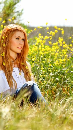 Katherine Mcnamara, photo, flowers, grass, 5k (vertical)
