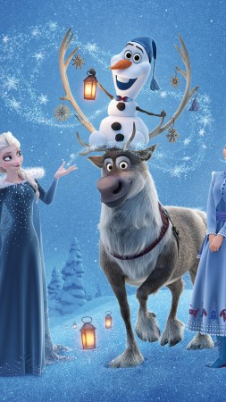 Olaf's Frozen Adventure, Elsa, Anna, winter, deer, snow, 4k (vertical)