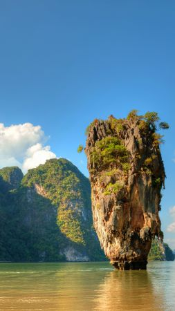 Ko Tapu, Thailand, islands, mountains, rocks, ocean, 5k (vertical)