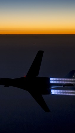 B-1, Lancer, supersonic, strategic bomber, Rockwell, U.S. Air Force, Boeing, sunset (vertical)
