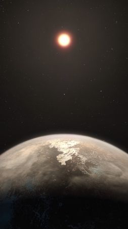 Ross 128 b, planet, 4k (vertical)