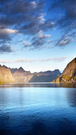 Norway, Lofoten islands, Europe, Mountains, sea, clouds, 5k (vertical)