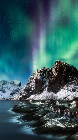 Norway, Lofoten islands, Europe, Mountains, sea, night, northern lights, 5k (vertical)