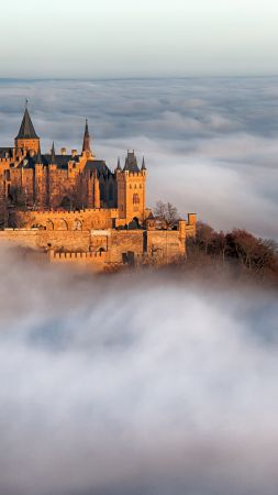 Hohenzollern Castle, Germany, fog, 4k (vertical)
