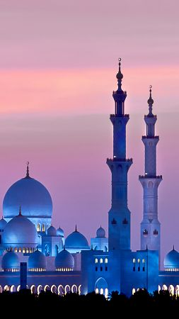 Sheikh Zayed Mosque, Abu Dhabi, sky, sunset, 4k (vertical)