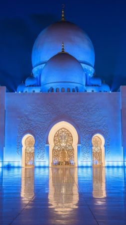 Sheikh Zayed Mosque, Abu Dhabi, night, 8k (vertical)
