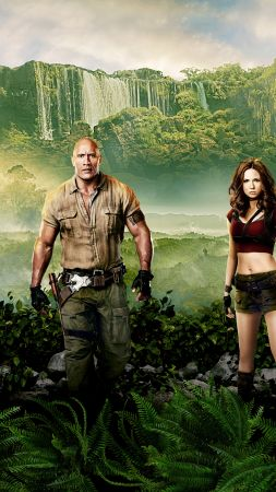 Jumanji: Welcome to the Jungle, Jack Black, Kevin Hart, Dwayne Johnson, Karen Gillan, 8k (vertical)