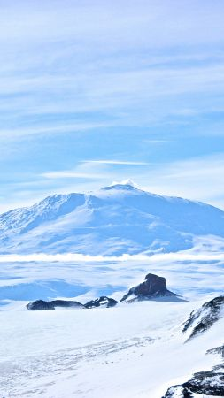 Erebus, Antarctica, volcano, snow, winter, 5k (vertical)