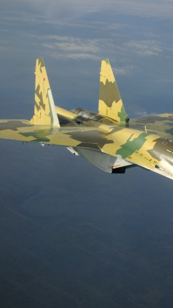 Su-35S, Sukhoi, Super Flanker, air superiority fighter, Russian Air Force, Russia (vertical)