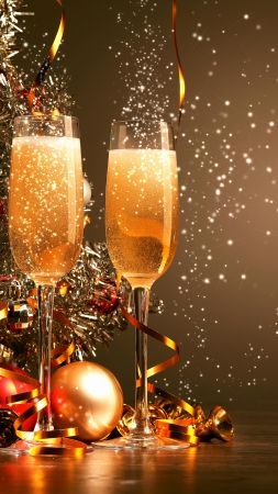 Christmas, New Year, champagne, balls, decorations, 4k (vertical)