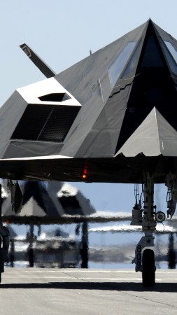 Nighthawk, Lockheed, F-117, stealth, attack aircraft, U.S. Air Force, stealth technology, runway (vertical)