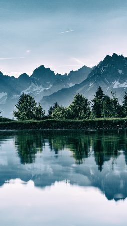 mountain, lake, trees, 4k (vertical)