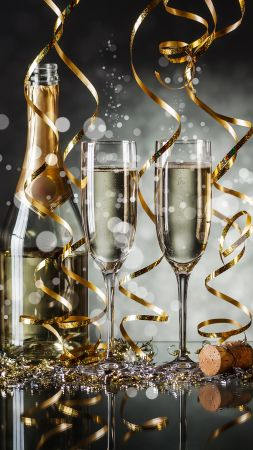 Christmas, New Year, champagne, 4k (vertical)
