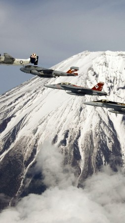 U.S. Navy, aircraft, carrier, jet, fighter, mountain, Fuji, Japan (vertical)