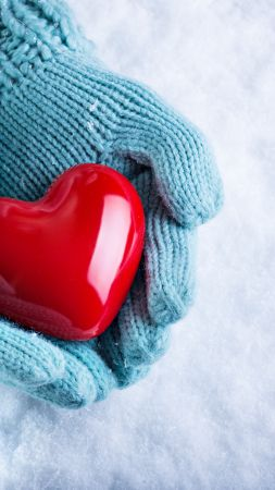 love image, hand, snow, heart, 4k (vertical)