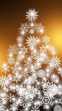 Christmas, New Year, fir-tree, snowflakes, 4k (vertical)